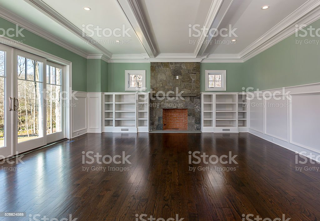 Living Room and Fireplace stock photo