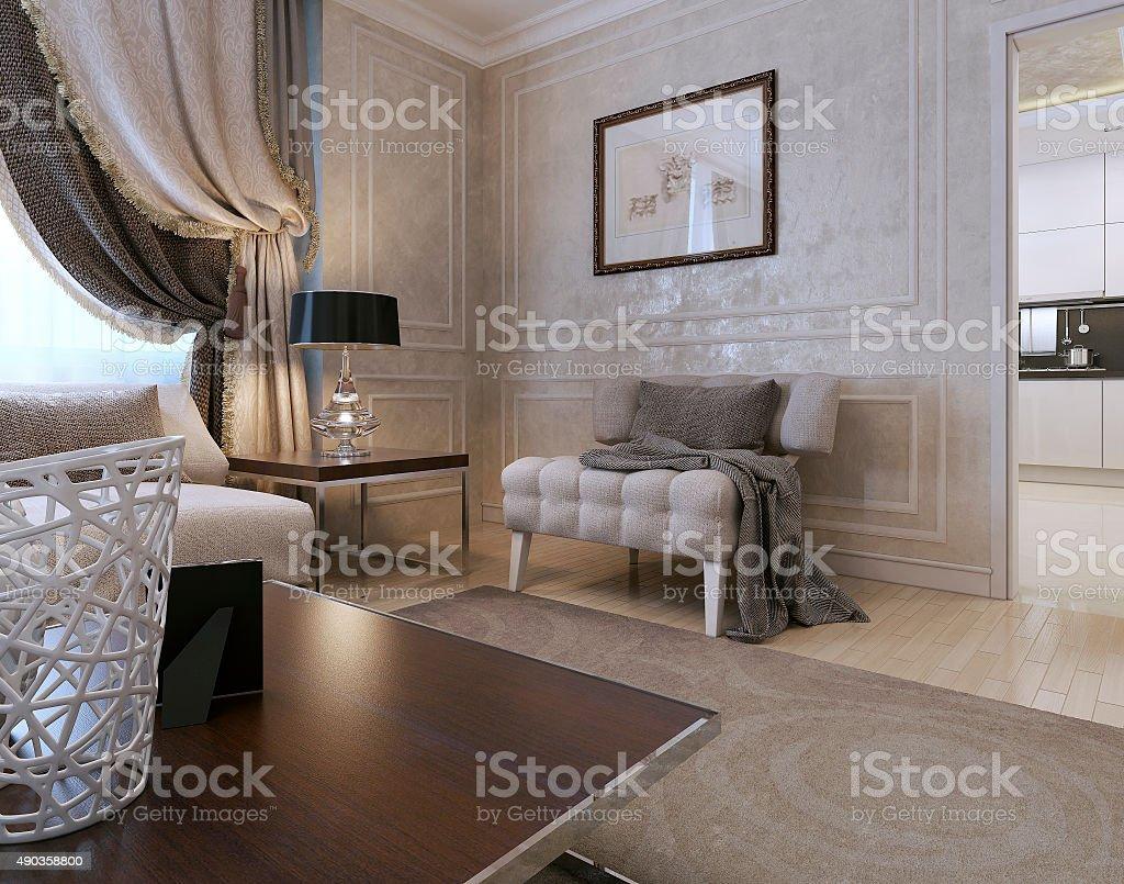 Living room art deco style stock photo