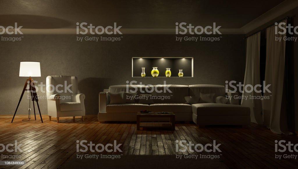 Living room at night. 3d illustration