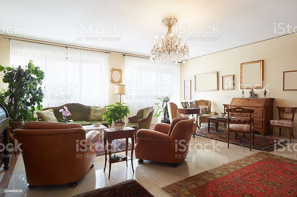 Living room, classic interior with antiquities stock photo