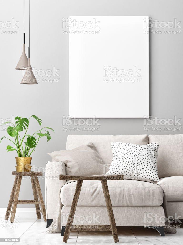 Wohnzimmer-Konzeption mit Mock-up poster – Foto