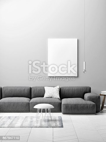 923497490istockphoto living room concept with mock up poster on gray wall 857947110