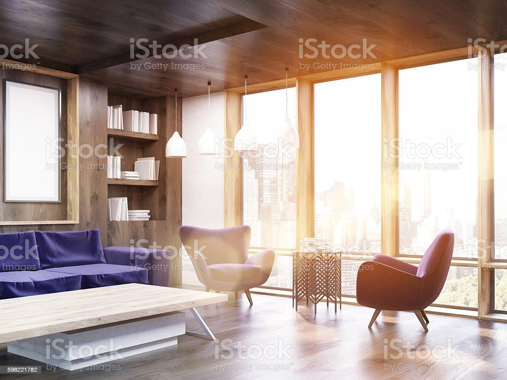Living room corner with sunlight stock photo