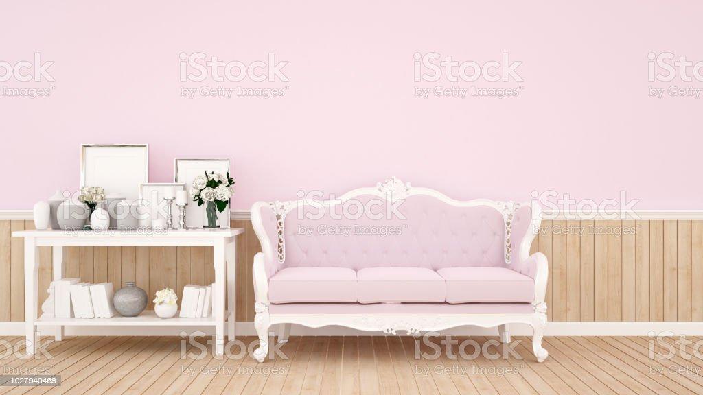 Photo Libre De Droit De Salon Decoration Sur Mur Rose Pour
