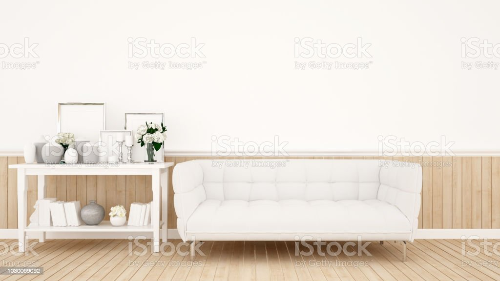 Living Room Decoration On White Tone For Artwork   White Sofa And  Decoration Set In White