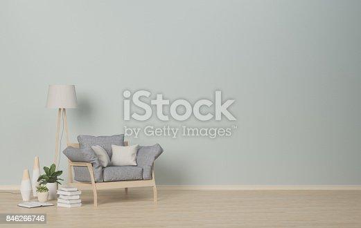 istock living room designed,Green wall,interior decoration,Shelf hexagonal,3D rendering 846266746