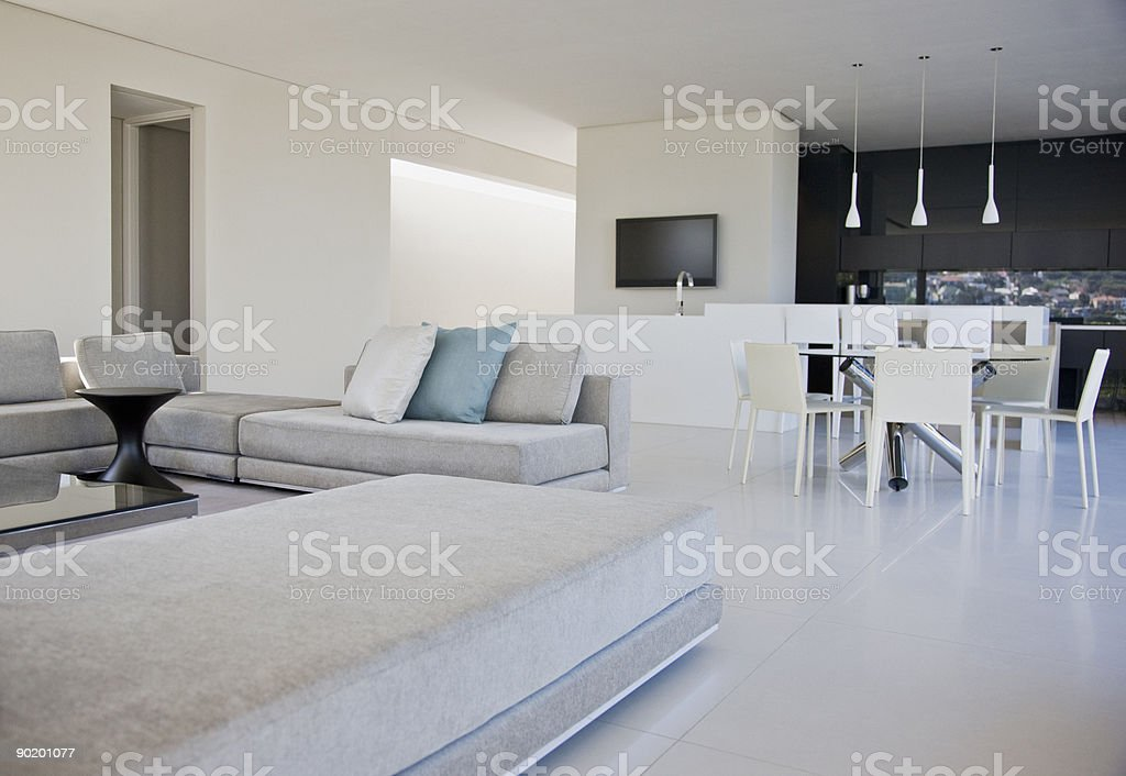 Living room, dining room and kitchen of modern home royalty-free stock photo