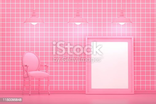 649067260istockphoto Living room, empty frame and armchair with grid pattern pink color wall 1150095848