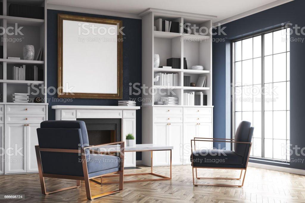 Wohnzimmerkamin Und Blaue Sessel Ecke Stockfoto Und Mehr Bilder Von Abstrakt Istock