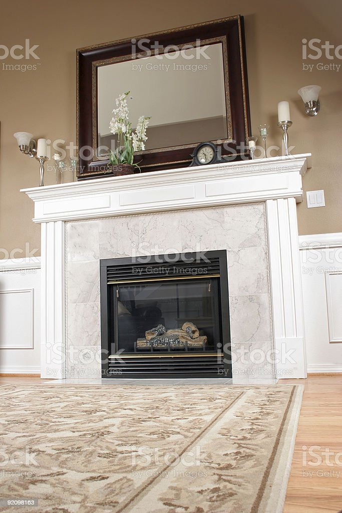 Living Room Fireplace royalty-free stock photo