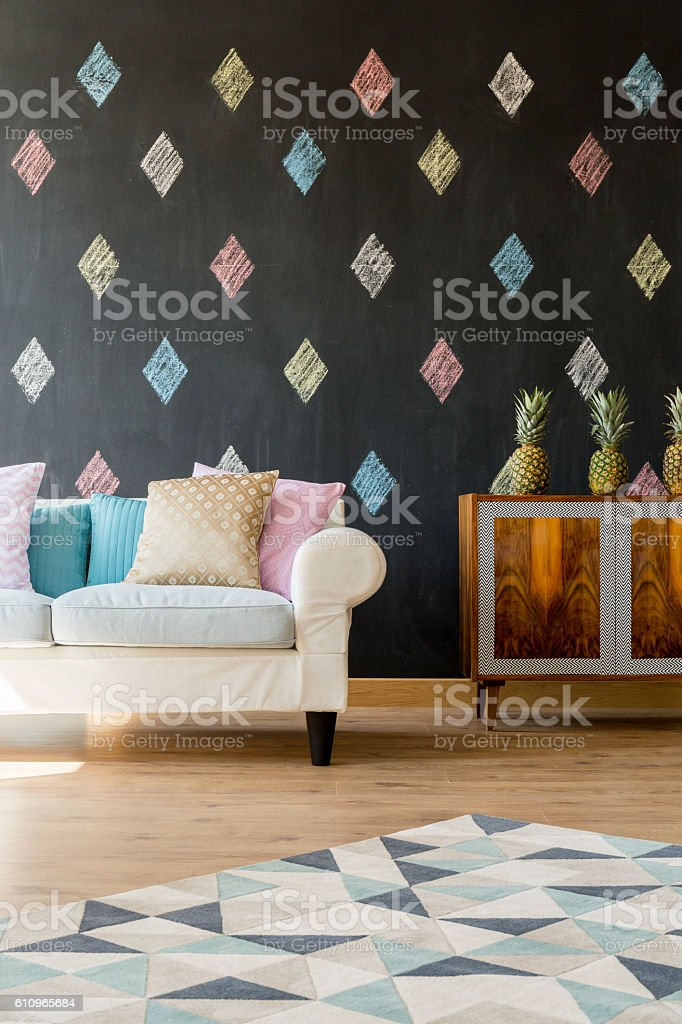 Living room for a queen of diamonds stock photo