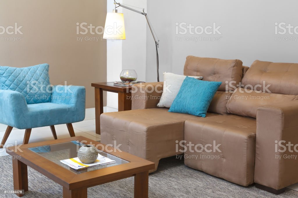 Living Room Grey Blue Brown Stock Photo Download Image Now Istock