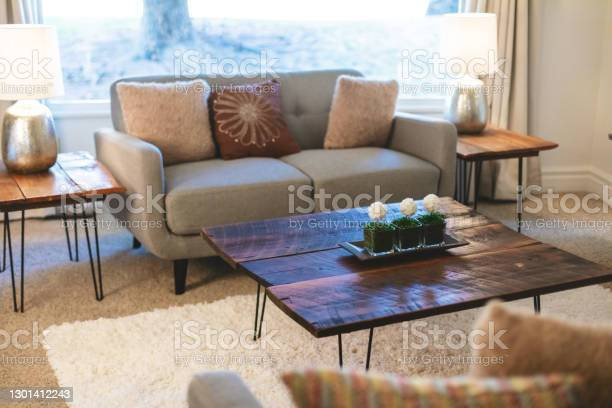 Living Room Home Interior Design And Furniture Elements In Modern Domestic Room Photo Series Stock Photo - Download Image Now