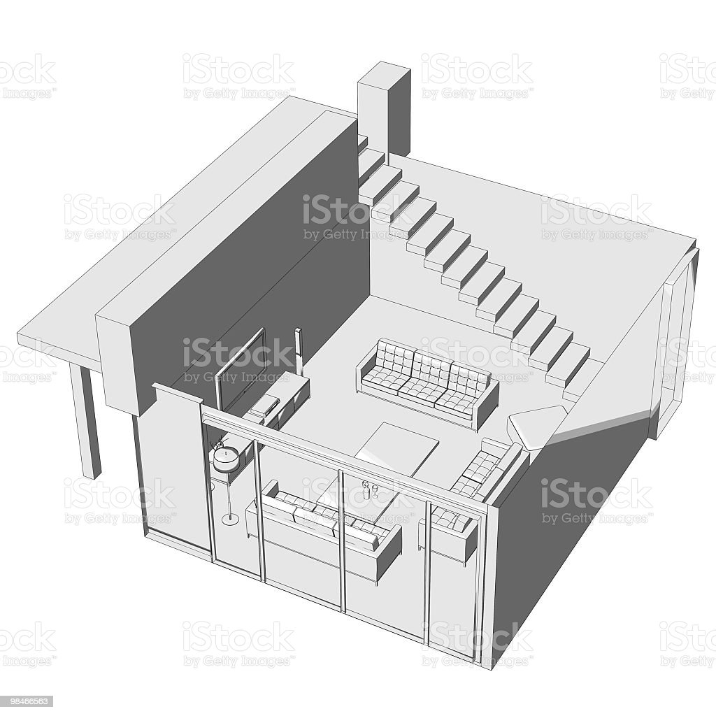 Living room illustration - top view royalty-free stock photo
