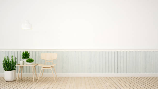 wohnzimmer im coffee-shop oder apartment - 3d rendering - hellblaues zimmer stock-fotos und bilder