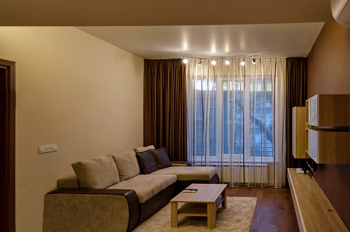 Living Room In Fresh Renovated Apartment With Modern Led ...