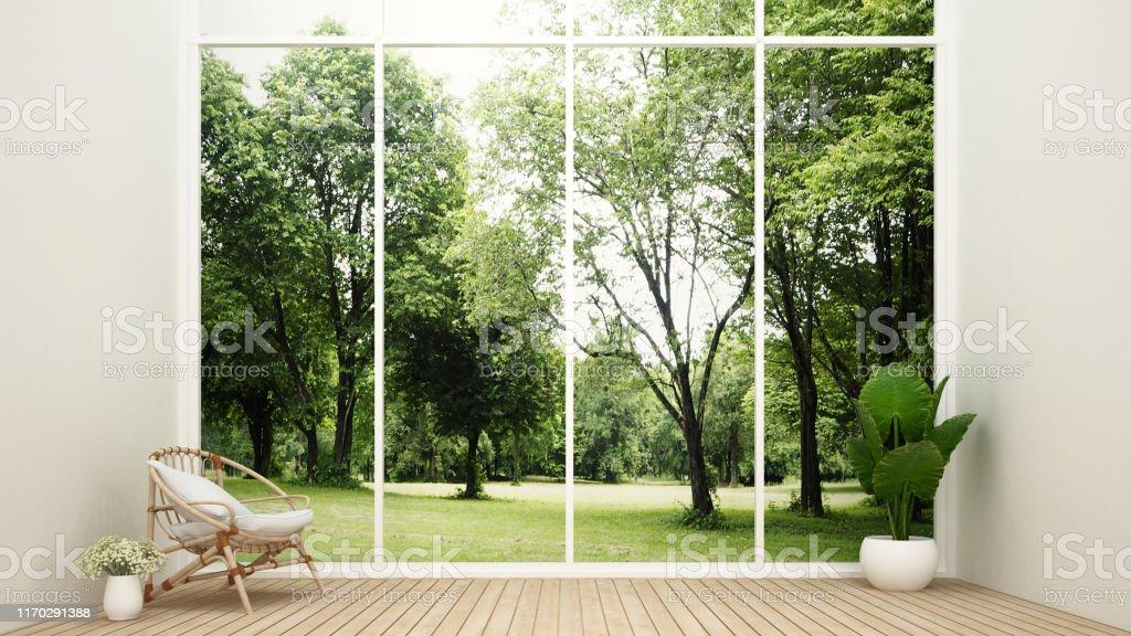 Wohnzimmer in Haus- und Naturblick - Relax-Bereich im Wohnzimmer und Waldblick Hintergrund - Innen minimaldesign für Wohn-Kunstwerk - 3D Rendering - Lizenzfrei Architektur Stock-Foto