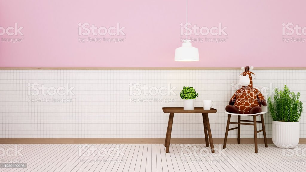 Wohnzimmer Im Haus Oder Kind Auf Weißer Keramik Und Rosa Wand