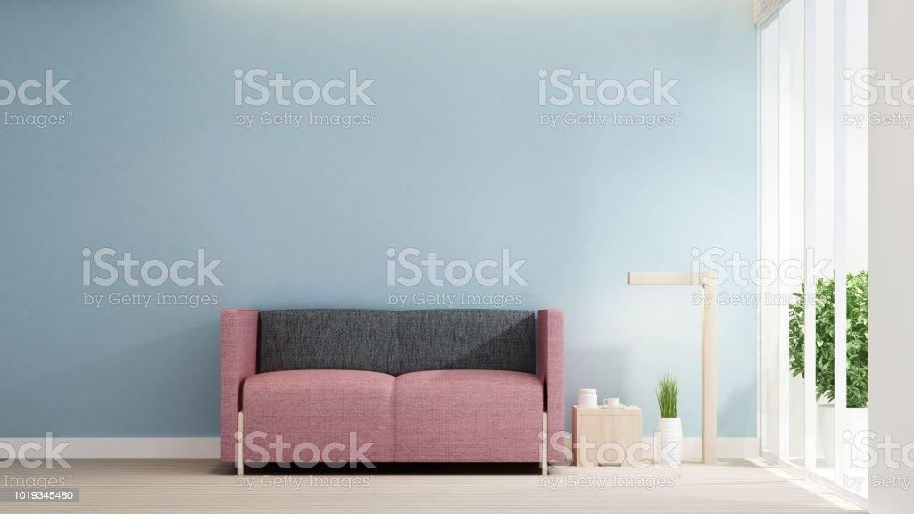 Image of: Decorar Sala De Estar En La Casa O Apartamento En La Pared De Azul Claro Interior Diseno Simple Arte Para El Negocio De La Residencia Render 3d Foto De Stock Y Mas