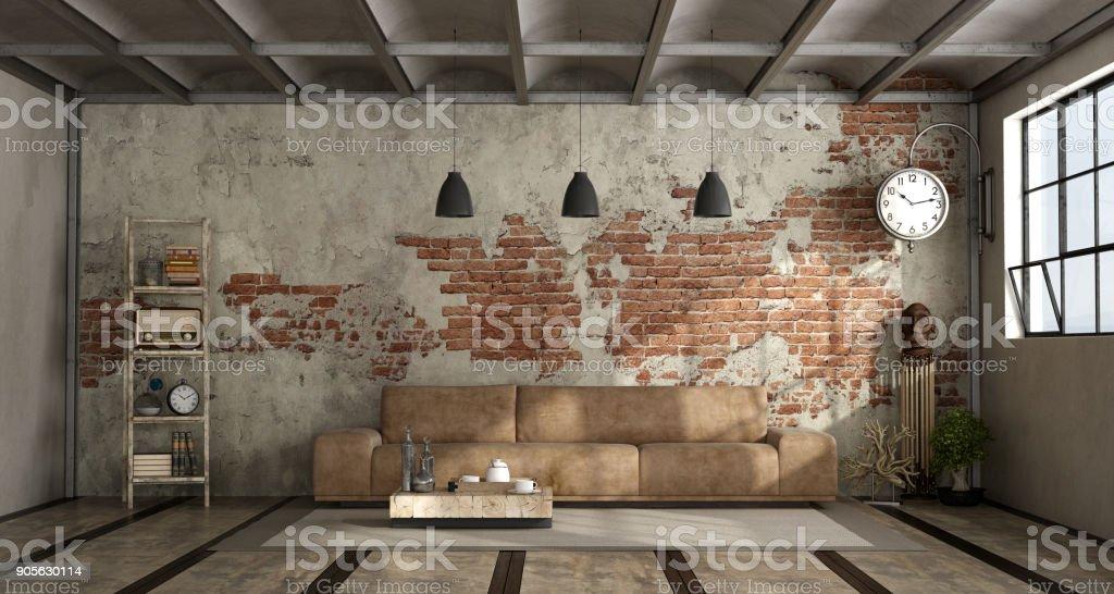 Wohnzimmer Im Industriellen Stil Lizenzfreies Stock Foto