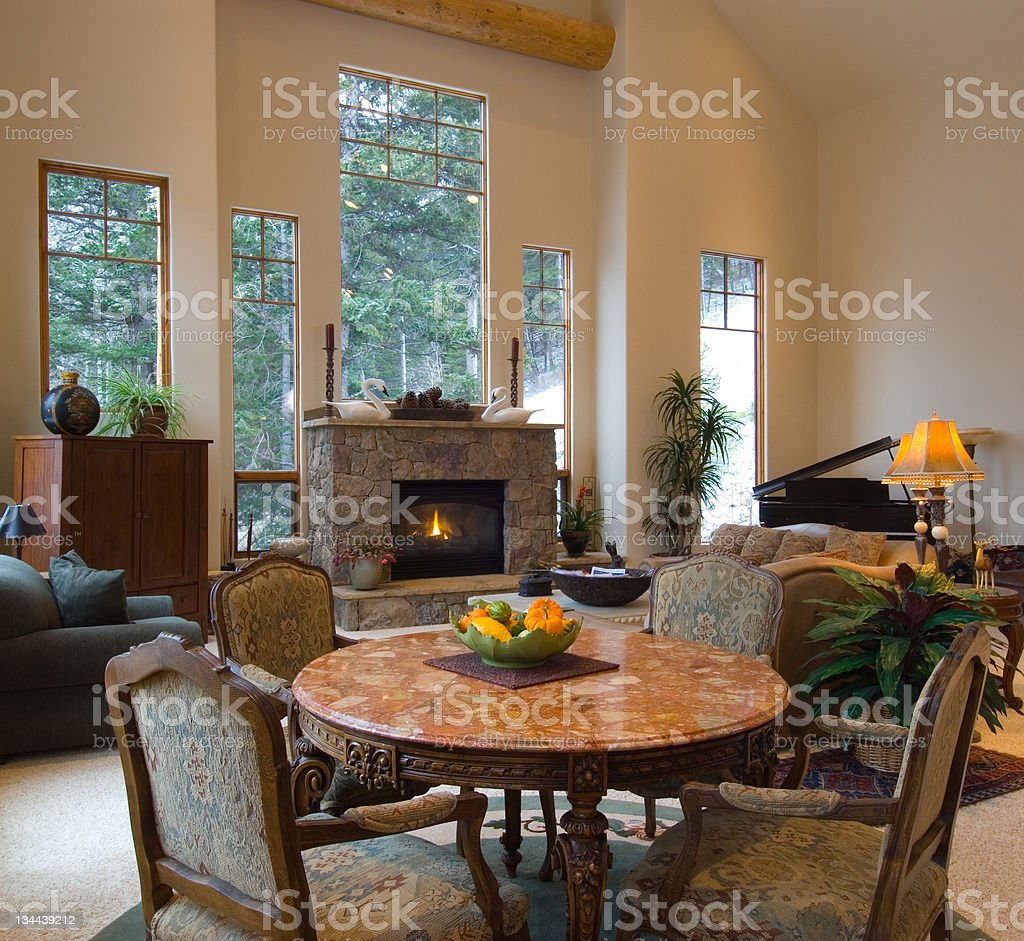 Living Room in Luxury Trophy Home royalty-free stock photo
