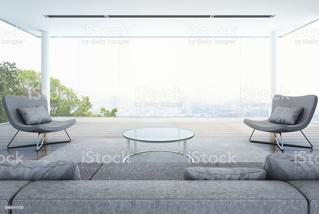 living room in modern building, white interior with city background stock photo