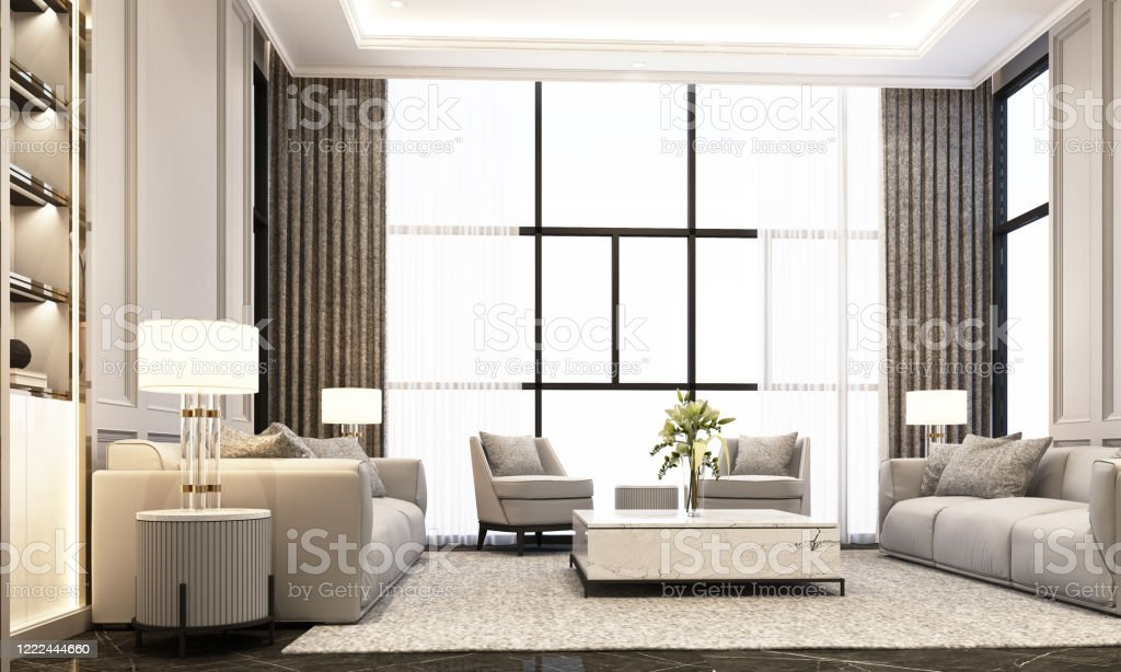 Living Room In Modern Classic Style With Sofa Coffee Table And Armchair On Black Marble Floor And Classic Element Decoration Wall And Ceiling 3d Rendering Stock Photo Download Image Now Istock