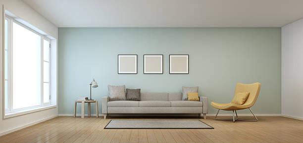wohnzimmer in modernen haus - bilderrahmen gestalten stock-fotos und bilder