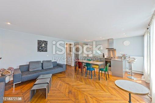 640265128 istock photo Living room in modern studio apartments. 1218372138