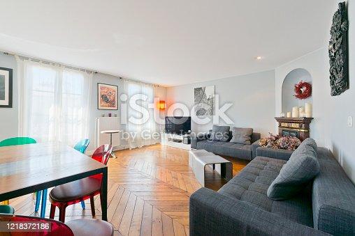 640265128 istock photo Living room in modern studio apartments. 1218372186