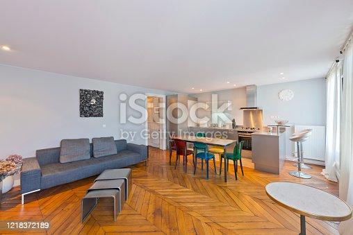640265128 istock photo Living room in modern studio apartments. 1218372189