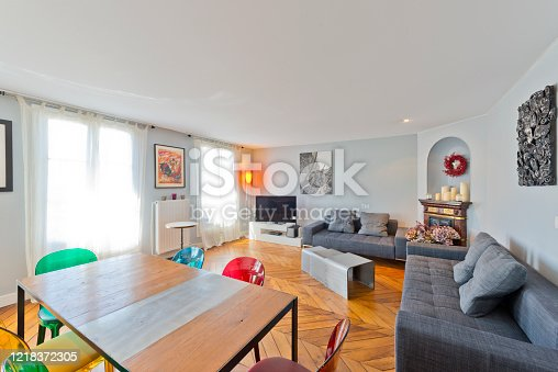 640265128 istock photo Living room in modern studio apartments. 1218372305