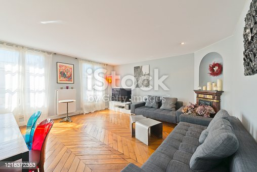 640265128 istock photo Living room in modern studio apartments. 1218372353