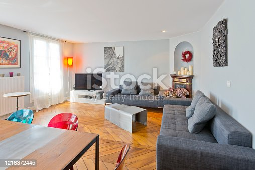 640265128 istock photo Living room in modern studio apartments. 1218372445