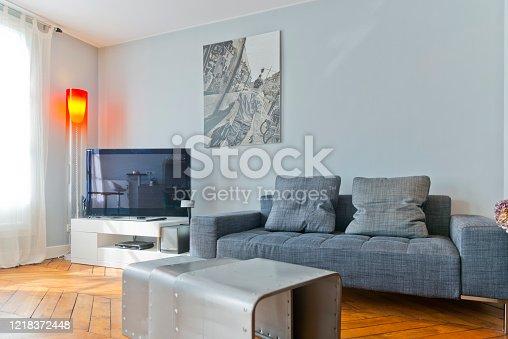640265128 istock photo Living room in modern studio apartments. 1218372448