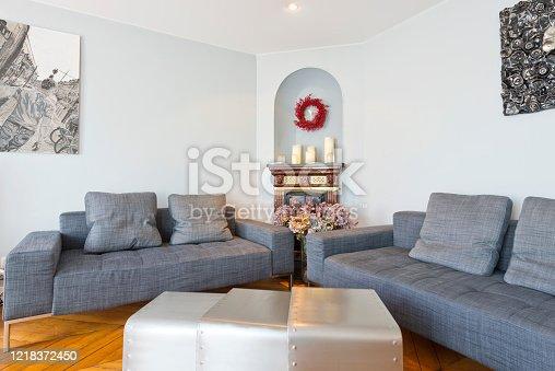 640265128 istock photo Living room in modern studio apartments. 1218372450