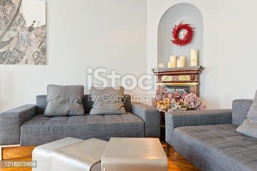 640265128 istock photo Living room in modern studio apartments. 1218372454