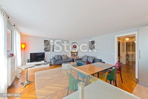 640265128 istock photo Living room in modern studio apartments. 1218372520