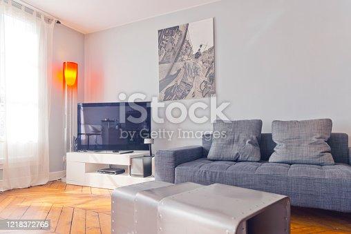 640265128 istock photo Living room in modern studio apartments. 1218372765