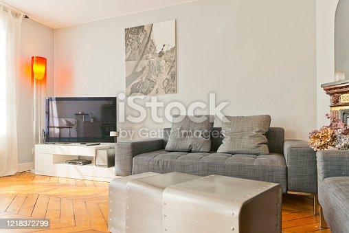 640265128 istock photo Living room in modern studio apartments. 1218372799