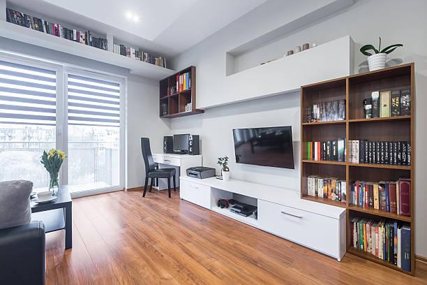 tv living room in modern style - zimmer bildschirm stock-fotos und bilder