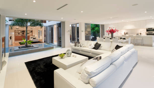 Living room in new modern home stock photo