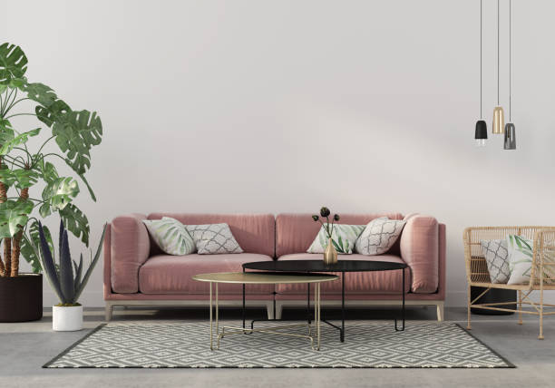 living room in pink with velvet sofa stock photo