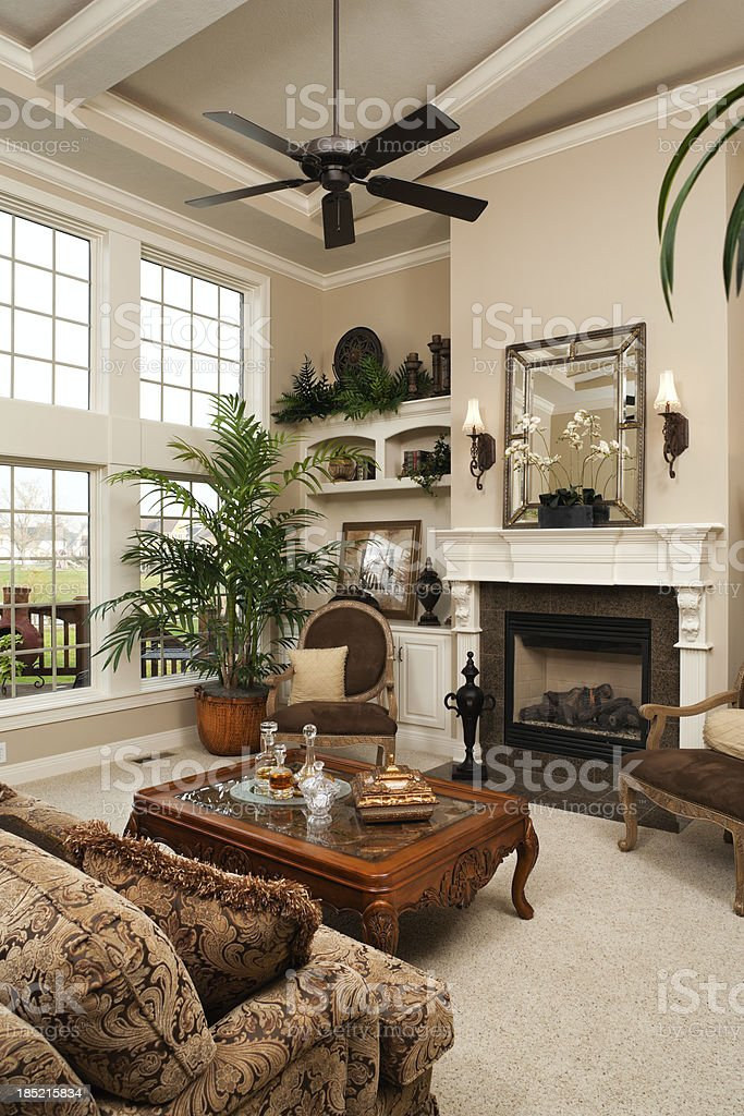 Living room in residential home. stock photo