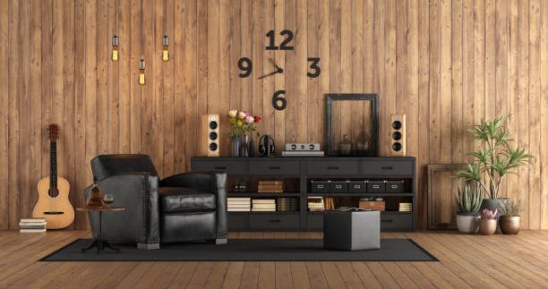 Living room in rustc style with audio equipment stock photo