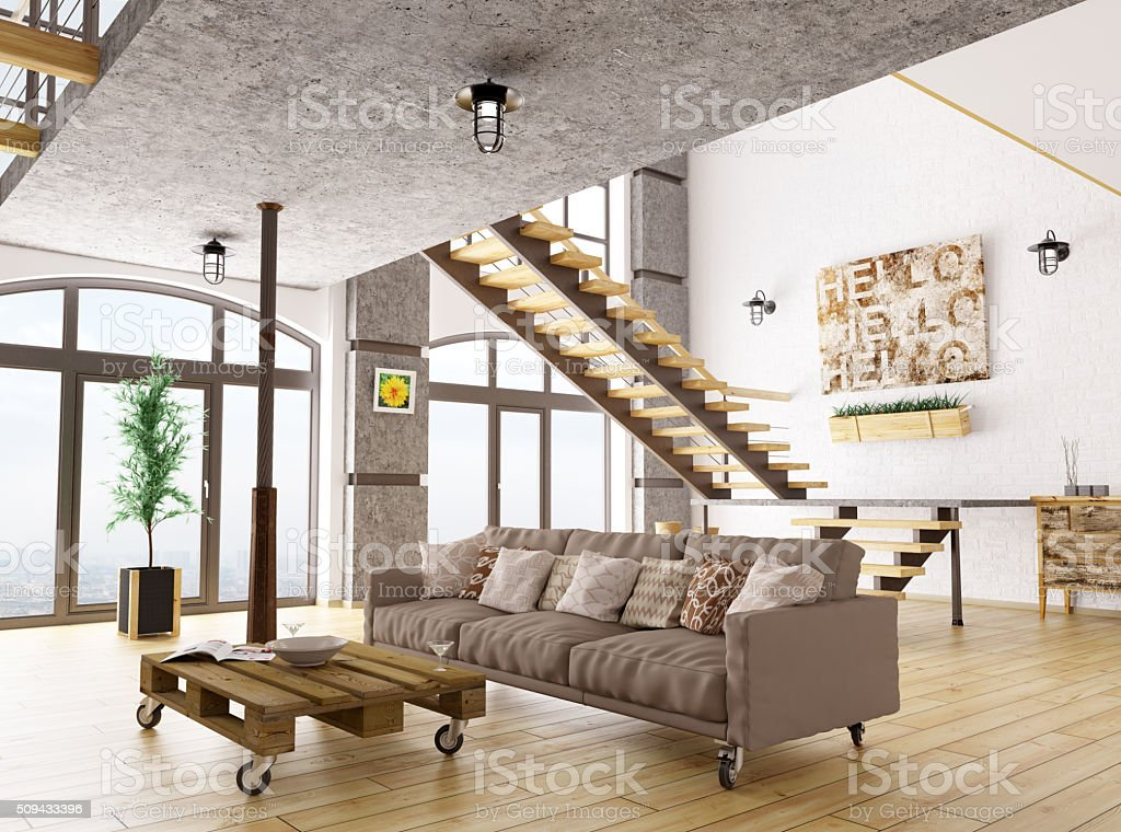 Living room interior 3d render Interior of living room with sofa, staircase 3d render. All images, photos, pictures used in this interior are my own works, all rights belong to me. Apartment Stock Photo