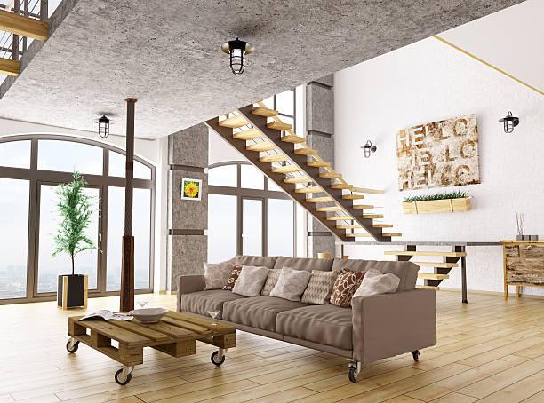 wohnzimmer interior 3d render - bild wandtreppe stock-fotos und bilder