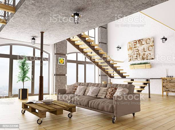 Living Room Interior 3d Render Stock Photo - Download Image Now