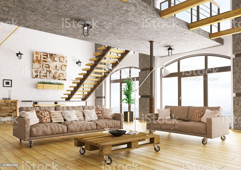 Living room interior 3d rendering stock photo