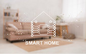 Living room interior and pictogram of smart home on transparent screen, creative collage. Panorama
